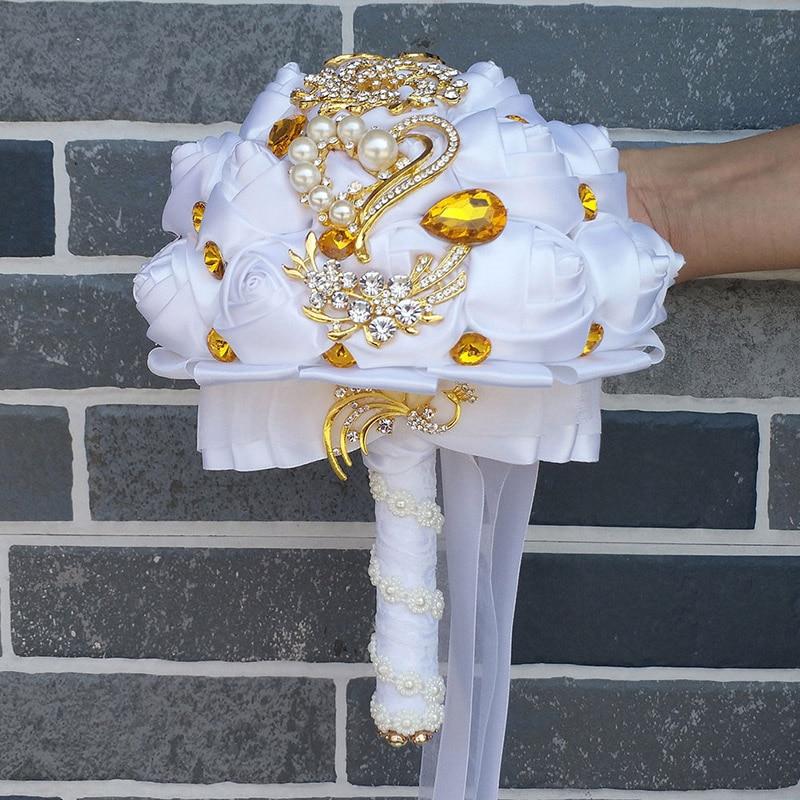 WifeLai-A arany bross menyasszonyi kéz gazdaság virág csokrok - Esküvői tartozékok - Fénykép 6