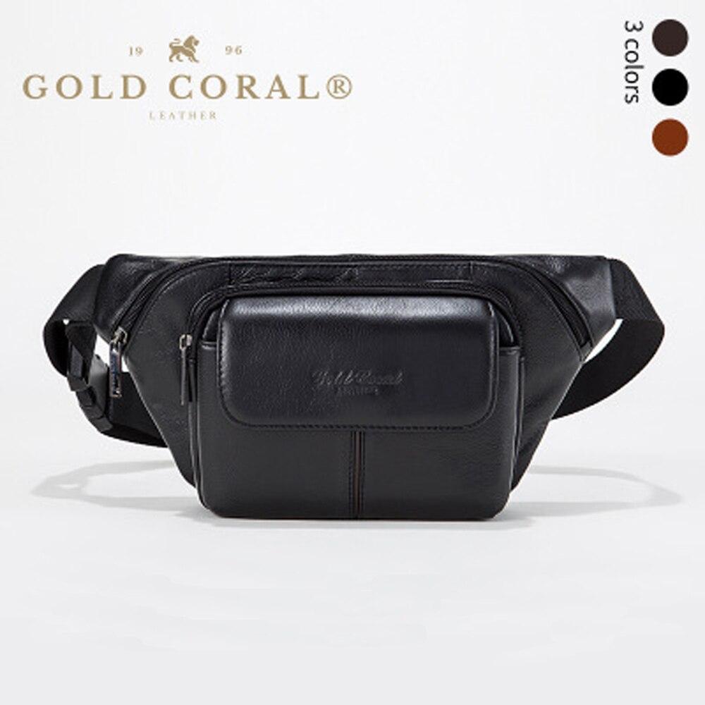 GOLD CORAL Genuine Leather Casual Belt Waist Bags For Men Phone Case Fanny Pack Men's Bum Hip Waist Phone Pouch Shoulder Bag