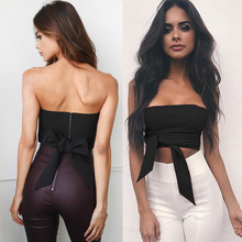 Solid Solid Bow Tie Tube Top For Women Back Zipper Ladies Cropped Seamless Strapless Crop Strap Sexy Wrapped Chest For Female contrast bow tie strap top