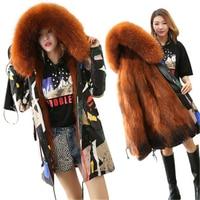 Pai over 2018 new female big fur collar defense fox raccoon hair liner pike anti fur women's large size coat D458