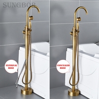 Antique Bathtub Floor Stand Faucet Mixer Single Handle Mixer Tap 360 Rotation Spout With Hand Shower Bath Mixer Shower HD 2678F1