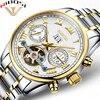 NIBOSI Mechanical Watches For Men Waterproof Men Watch Full Steel 12 Month Display Luxury Lrand Automatic