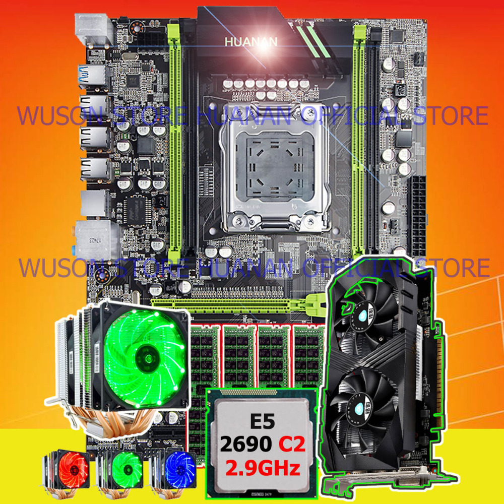 On sale HUANAN ZHI ATX X79 motherboard with M.2 slot video card GTX1050Ti 4G CPU Xeon E5 2690 C2 2.9GHz RAM 32G(4*8G) 1600 RECC цена