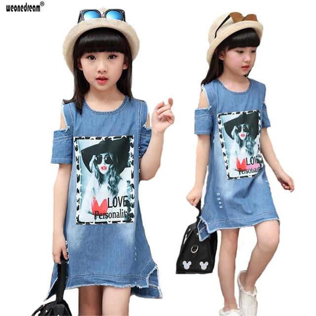 ecc6839a0 Weonedream 2018 nueva ropa de los niños moda Denim Niñas vestido niño niños  Vestidos para Niñas