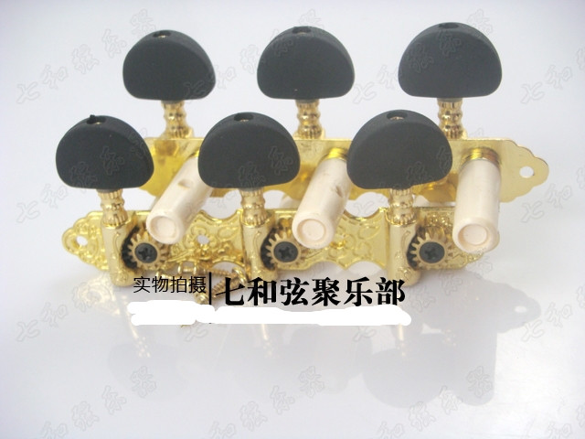 A set Gold Guitar Tuning Pegs Tuners Machine Heads For Classical Guitar With Black Half round buttons a set of 3r3l string tuners tuning peg machine heads for classical guitar