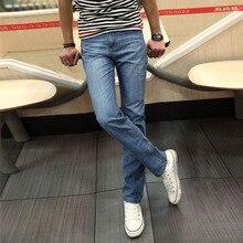 2015 Тонкие прямые Джинсы случайные длинные брюки джинсовые классический твердых моды для мужчин джинсы летом тонкий хлопок Тонкие джинсы плюс размер 38