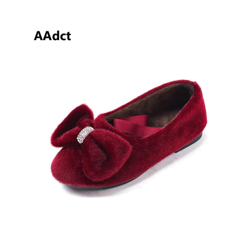 все цены на AAdct Cotton warm children flats shoes for girls New fashion princess girls shoes 2018 Winter soft kids shoes онлайн