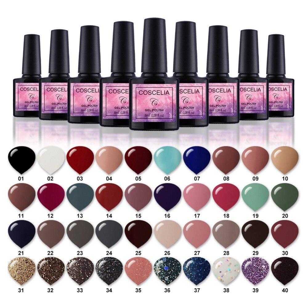 New Free Shipping Nail Art Design Manicure COSCELIA 40Color 8Ml Soak Off Enamel Gel Polish UV Gel Nail Polish Varnish