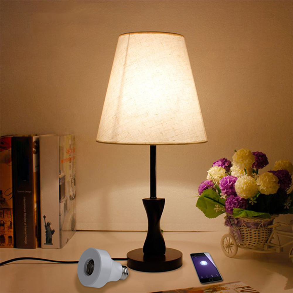 LED Wifi <font><b>Remote</b></font> Control Lamp <font><b>Holder</b></font> Wireless Smart Light Bulb Socket Cap Switch for Lamps Bulbs Base and Fixtures E27/E26 image