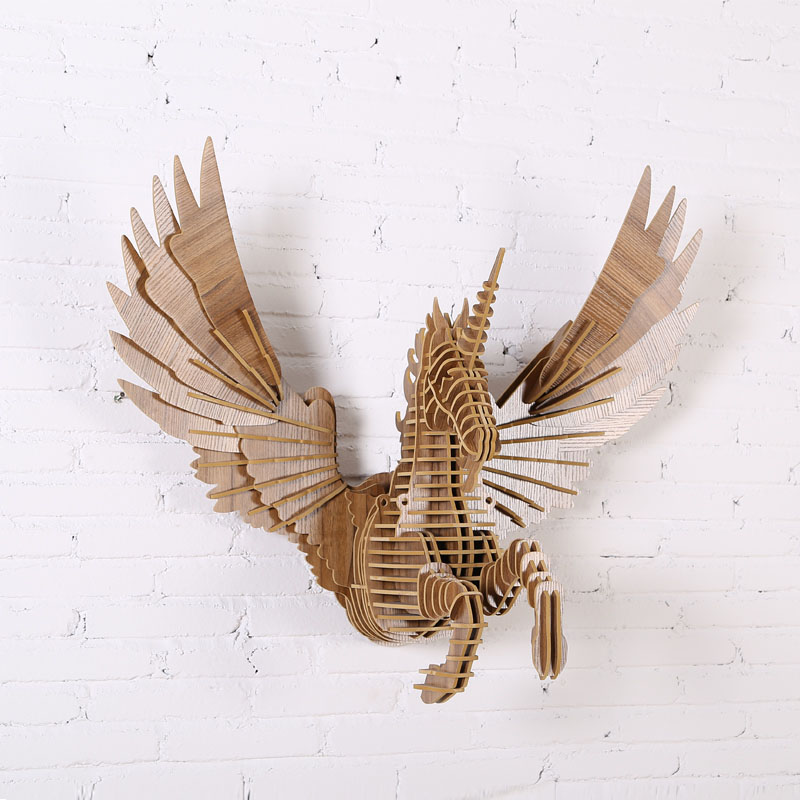 Europe Style Flying Unicorn Wood Wall Art Sculpture 3d Puzzle Animal Wall Hanging For Wall/bar/club Wdm021m By Scientific Process Home & Garden