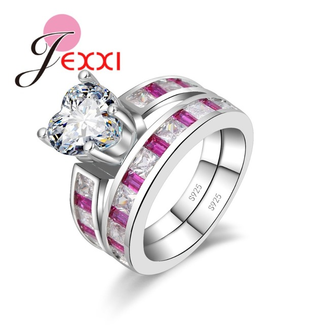 JEXXI 2018 New Cute Heart Shaped 925 Sterling Silver Ring Sets With