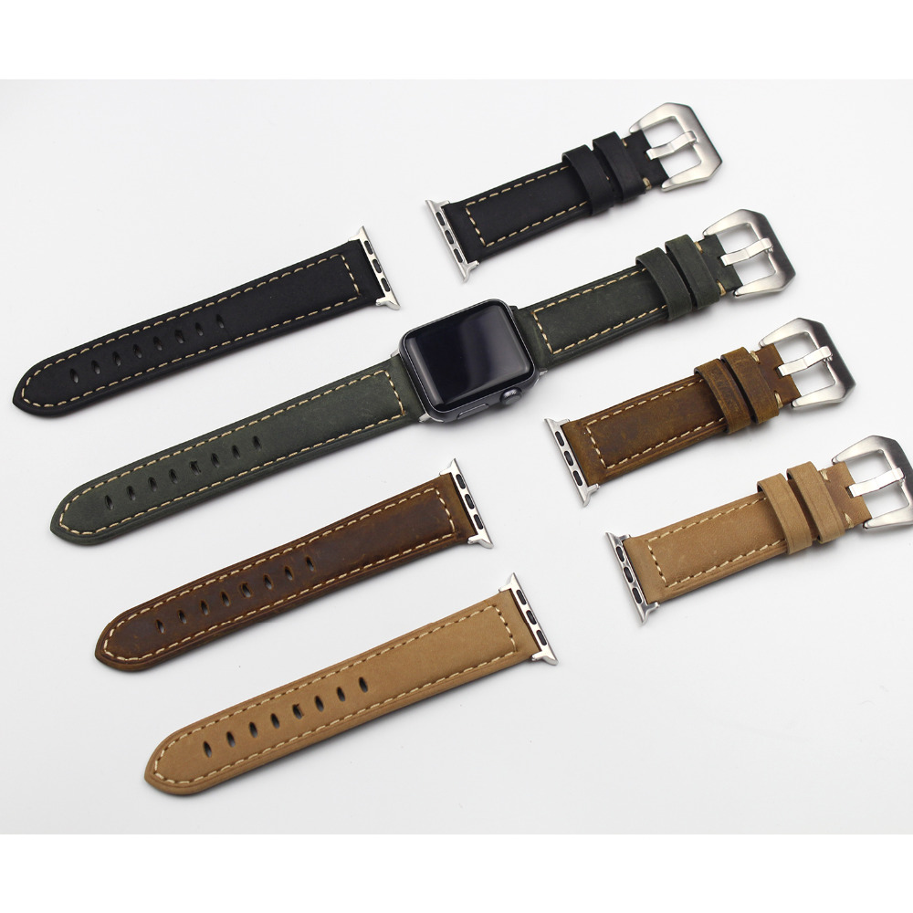 Genuine Leather iwatch strap Replacement Band with Stainless Metal Clasp for apple watch Serie 2 ,Serie1 ,Series3,38mm ,42mm