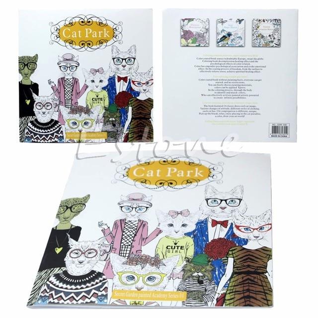 Fashion Secret Garden Cat Park Graffiti Coloring Books Gitfs For Adults Kids New