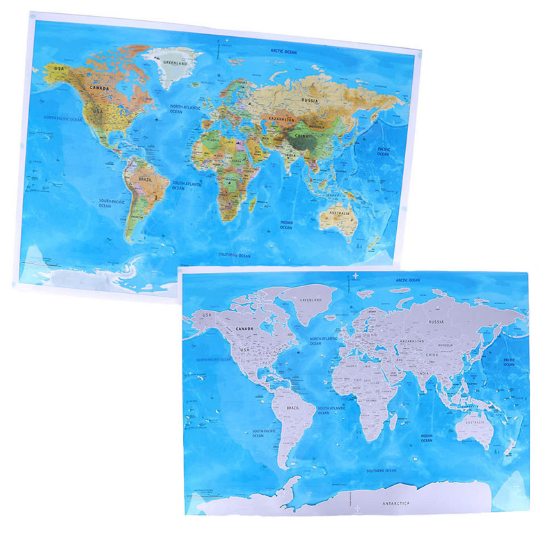 Deluxe Edition Scratch Of World Map And Travel World Poster Map Oceans 18