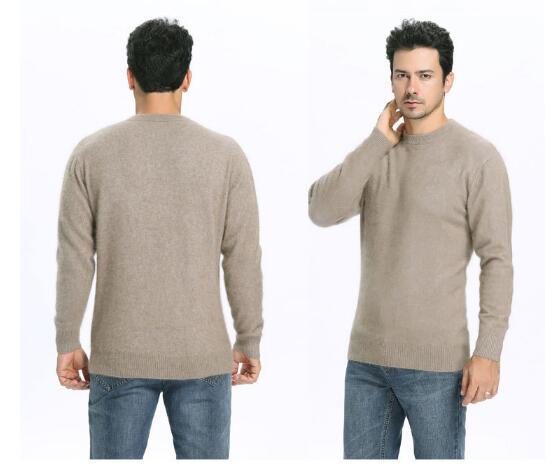 Men's Velvet Shirt Half-high Round Neck Pure Wool Sweater Plus Velvet Loose 100 Wool Sweater