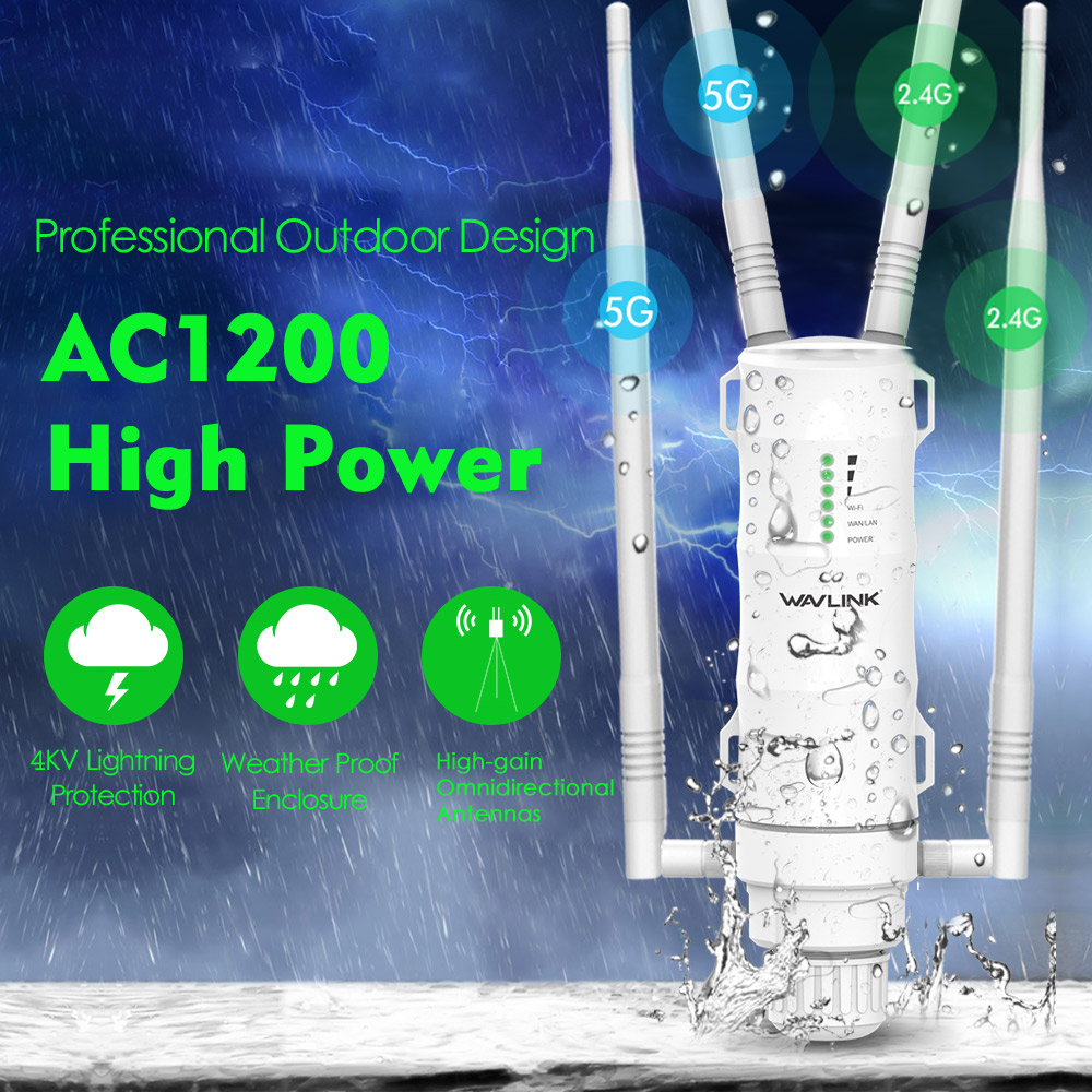 Wavlink AC1200 High Power Wi Fi Outdoor AP Repeater Router with PoE and High Gain 2