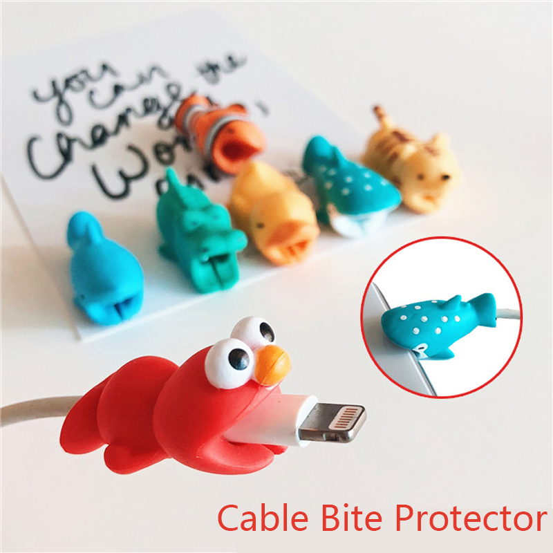 Cute Animal USB Cable Bite Protector Phone Accessory For iPhone 7 8 Plus X XR Cable Chomper Charger Holder Dropshipping
