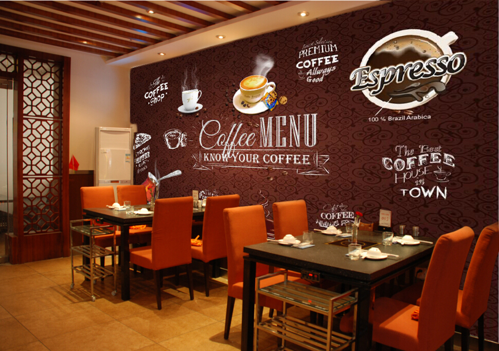 Buy custom food shop wallpaper coffee 3d for Cafe mural wallpaper