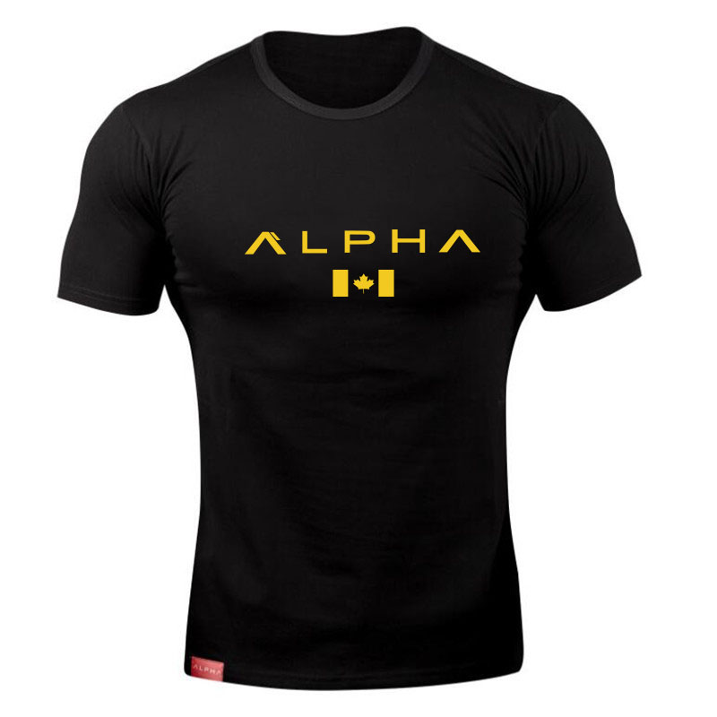 ALPHA maple Leaf Fashion Summer Short Sleeve   T     shirt   Men Brand Clothing Cotton Comfortable Male   T  -  shirt   Print Fitness Men Tees