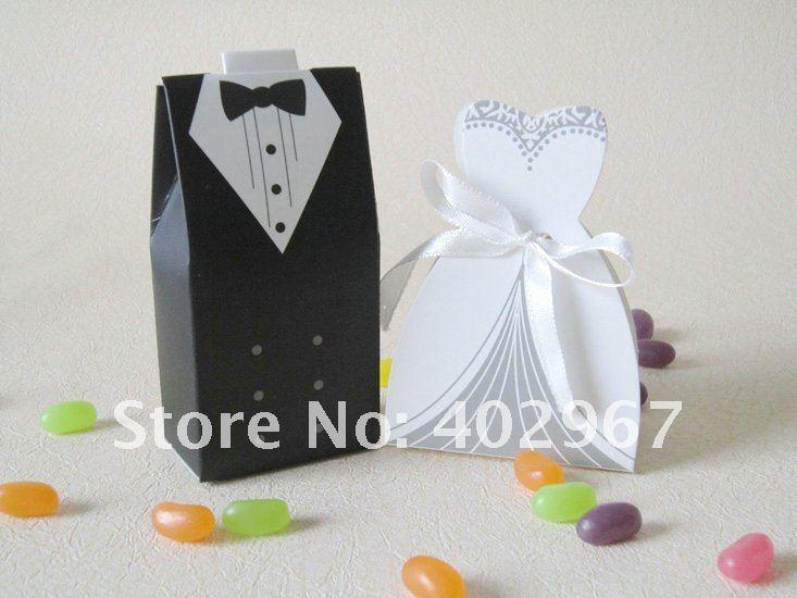 50pairs bride and groom 100pcs tuxedo groom bridal wedding for Wedding dress shipping box
