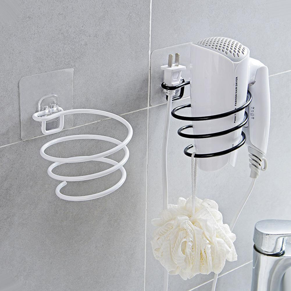 Iron Hair Dryer Holder Bathroom Storage Rack Wall Mounted Storage Holder Non-Punch Rack Shelf Bathroom Kitchen Organizer