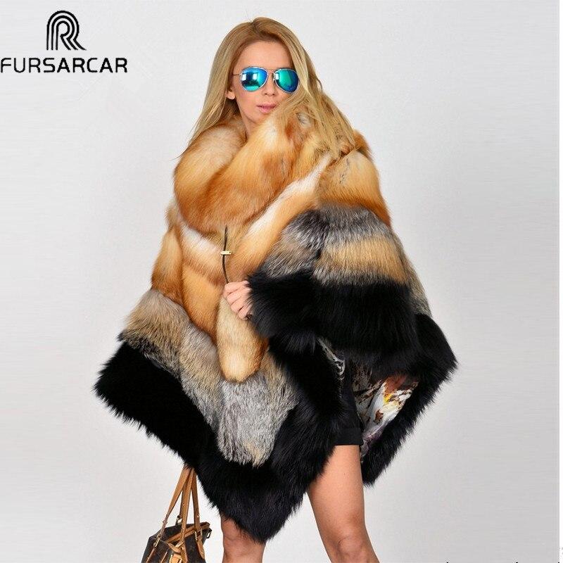 FURSARCAR Novo Inverno Mulheres Poncho Capa De Pele Real Com Gola de Pele de Raposa Naturais Genuíno de Luxo Casaco De Pele Verdadeira