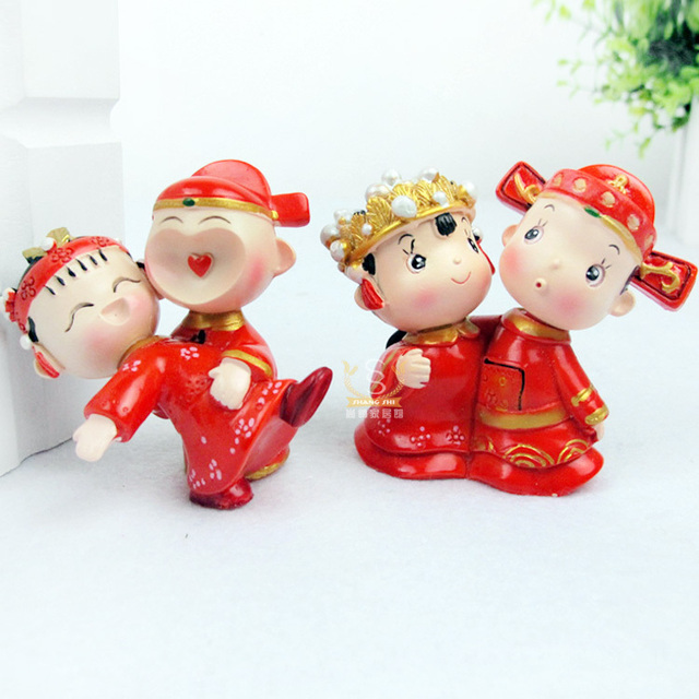 Twinset chinese style decoration bride and groom doll car accessories mini products