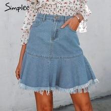 98e94df133 Simplee volantes denim azul mini falda mujeres falda de otoño niñas bodycon  borla trompeta faldas 2018 Casual denim Falda Mujer