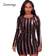 f5514c687536 Ziamonga 2017 Winter Women Elegant Luxury Sequin Dresses Women Bodycon Tight  Sexy Club Party Dress Long Sleeve Bandage Dresses