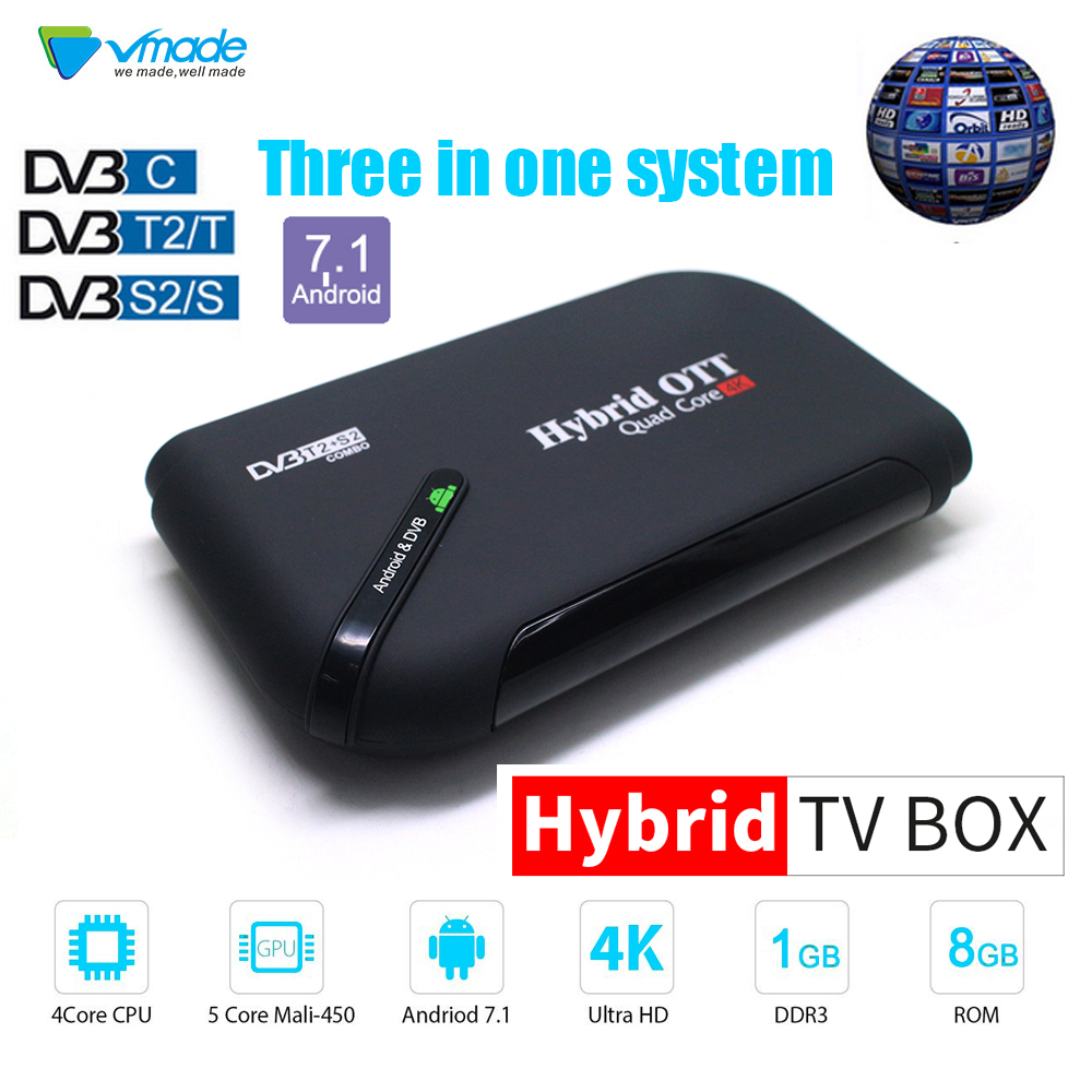VMADE TUER PRO DVB-S2 DVB-T2 DVB-C Décodeur Android 7.1 TV Box 1GB 8GB K3 Pro Amlogic S905D Octa Core 64bit 4K Combo décodeur