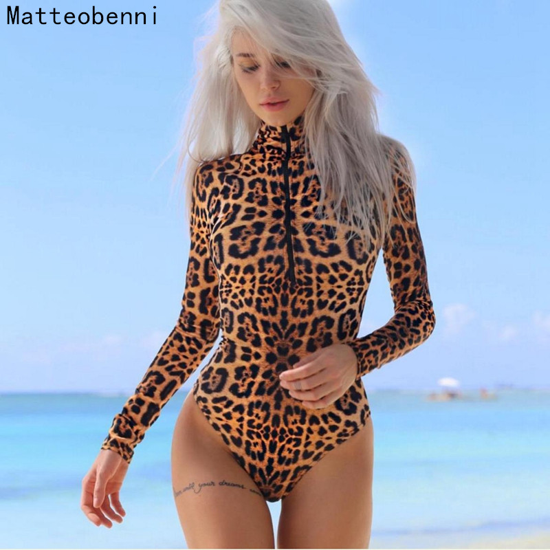 Autumn Bodycon Bodysuits Feminino Mujer Sexy Leopard zipper Stretchy Romper Long Sleeve Women Body Winter Jumpsuit Top One Piece