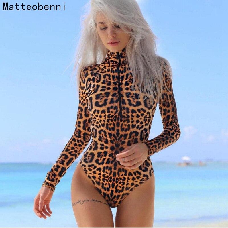 Autumn Bodycon Bodysuits Feminino Mujer Sexy Leopard zipper Stretchy Romper Long Sleeve Women Body Winter Jumpsuit Top One Piece