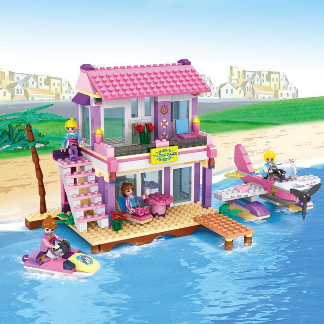 Cogo girls educational building blocks juguetes para los niños regalos avión barco casa amigos compatible con legoe
