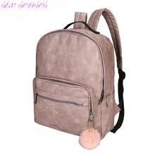Six senses Женщины Рюкзаки Мода большой емкости плече сумки PU Кожаные Рюкзаки Для Девушки случайные рюкзак mochila XD4042