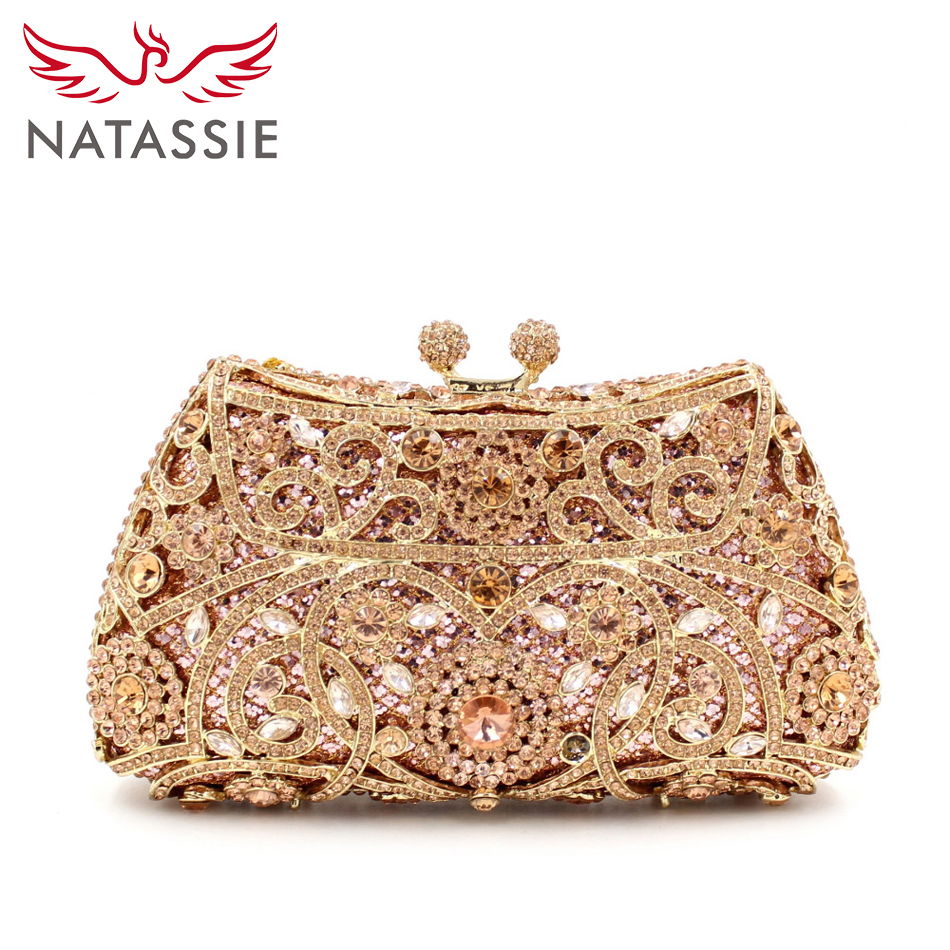 Aliexpress.com  Buy NATASSIE Evening Bags Ladies Wedding Party Bag Crystal Gold Clutch Women ...