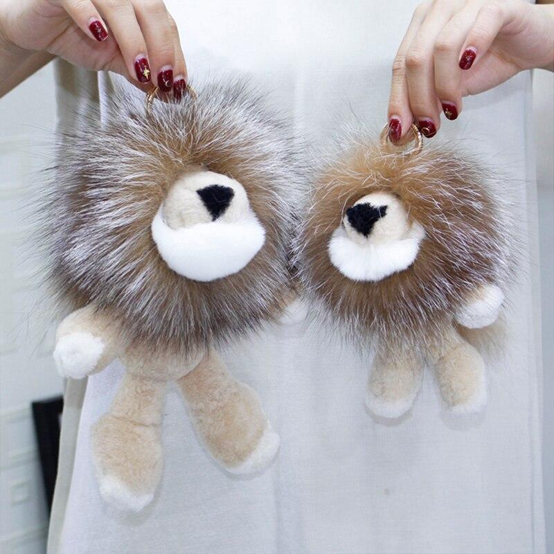 Nouveau pendentif lion en fourrure de renard, sac roi lion en laine australienne, ornements de voiture, breloque poupée en peluche, pendentif porte-clés 224