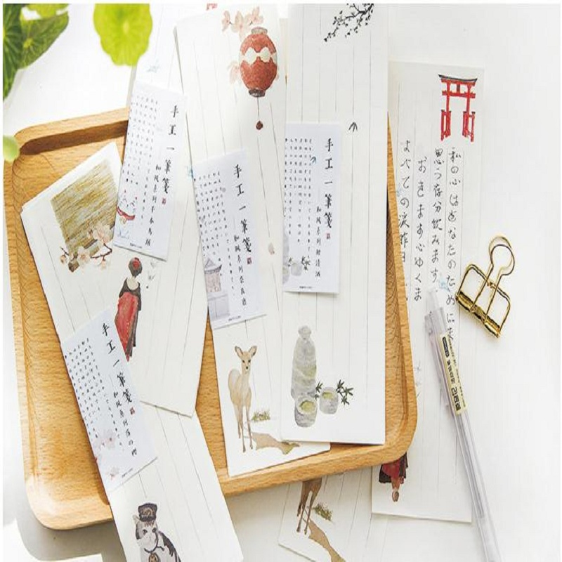 10pcs/set 6.5x19.5cm Mini Small Deer Cat White Japanese Style Cute Letter Paper Set Stationery Letter Pad For School Office