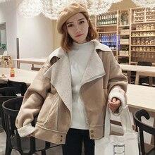 2017 Winter Chic Korean Women's New Relaxed Deer Kelp Lamb Men's Long Sleeve Thicker Jacket
