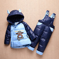 2016 Baby Down Jacket For Baby Boys And Girls Winter Clothing Set Children Down Coat Pant 2pcs Clothes Set