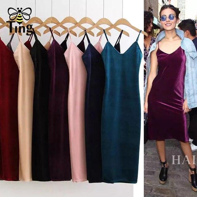Tingfly Classic Sexy Club Strap V neck Velvet Dress Women Casual Sheath  Bodycon Slim Velvet Party Dresses Vestidos 8 Colors 01b2573fece5