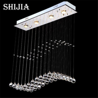 Free Shipping Modern Crystal Lamp Rectangle Restaurant Messenger Wire Lamp Sitting Room Partition Lamp Led Ceiling