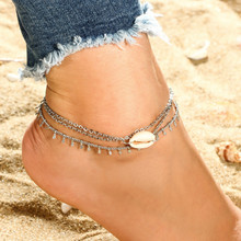 Bohemian Multi Layer Sea Shell Anklets Bracelets Silver Color Chain For Female Party Gift Women Jewelry