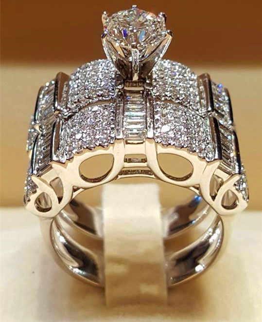 여성 크리스탈 화이트 라운드 반지 세트 브랜드 럭셔리 약속 실버 컬러 약혼 반지 빈티지 신부의 결혼 반지 여성을위한