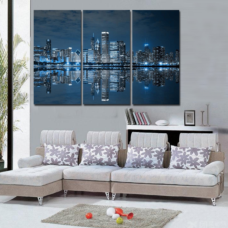 Wall Art Painting Picture Print On Blue Cool Buildings In Dark Color In  Chicago Canvas City Pictures For Home Decor No Frame In Painting U0026  Calligraphy From ...