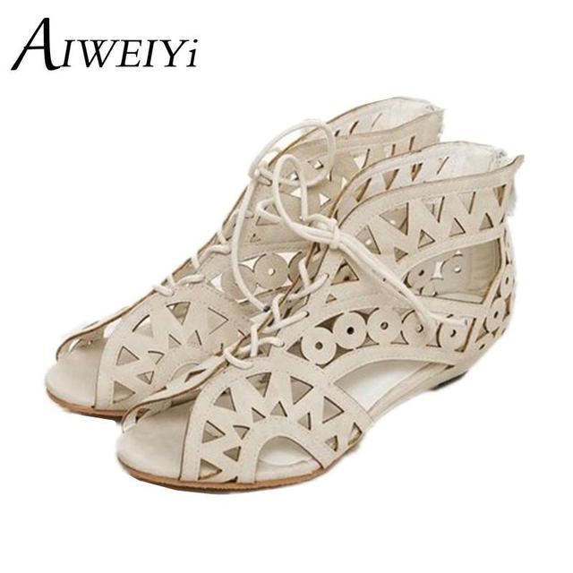 Aiweiyi tamanho grande 34-43 moda recortes ata acima sandálias das mulheres do dedo do pé aberto baixos cunhas amarelo preto branco de verão sapatos