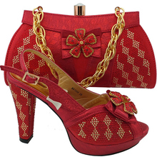 Italian Shoes Rhinestone Party African Women And RUTILANT with Bag-Set for Decorated