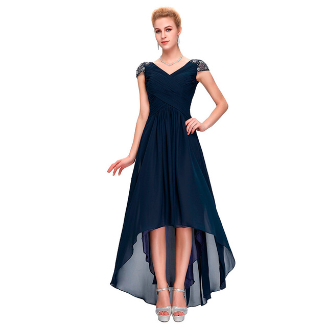 a9762ff5d850 LANSITINA prom dress navy blue party gown Deep V neck high low Crisscross  ruching bodice cap