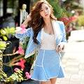 Originais Da Marca 2016 Outono e Inverno Plus Size Saias Feminino Fino Moda Elegante Mulheres Azul Fishtail Sereia vestido de Saia Atacado