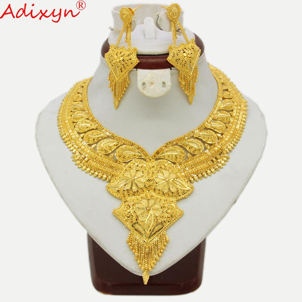 Adixyn inde collier ras du cou boucles d'oreilles couleur or/cuivre bijoux ensembles africain/nigérian mariée accessoires de mariage cadeau N04198