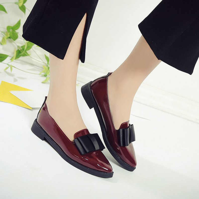 146354a5 ... MCCKLE Spring Flats Women Shoes Bowtie Loafers Patent Leather Elegant Low  Heels Slip On Footwear Female ...